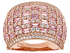 Pre-Owned Pink and White Cubic Zirconia 18k Rose Gold Over Sterling Silver Ring 4.86ctw