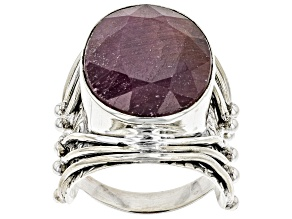 Pre-Owned Red Ruby Silver Ring 16.52ct
