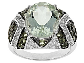 Pre-Owned Green Prasiolite Sterling Silver Ring. 4.76ctw