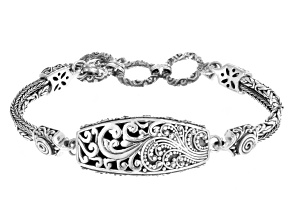 Pre-Owned Oxidized Sterling Silver Filigree Bracelet