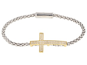 Pre-Owned white cubic zirconia 0.81ctw 18k Yellow Gold and Rhodium Over Sterling Silver Bracelet