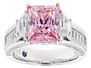 Pre-Owned Pink And White Cubic Zirconia Platineve Ring 7.91ctw