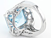 Pre-Owned Sky Blue Topaz Sterling Silver Ring 11.18ctw