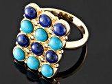 Pre-Owned Turquoise And Lapis 18k Gold Over Brass Ring