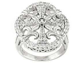 Pre-Owned Rhodium Plated Sterling Silver Cubic Zirconia Ring 1.83ctw