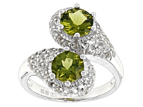 Pre-Owned Green Peridot Sterling Silver Bypass Ring 2.79ctw