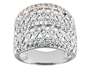 Pre-Owned BELLA LUCE® 1.16CTW ROUND RHODIUM PLATED STERLING SILVER RING