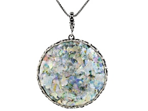 Pre-Owned Multicolor Man Made Roman Glass Sterling Silver Enhancer With Chain