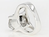 Pre-Owned White Quartz Silver Solitaire Ring
