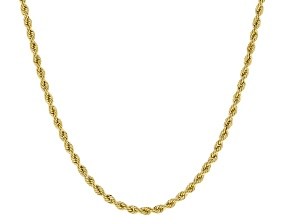 Pre-Owned 10k Yellow Gold Hollow 1.5mm Diamond Cut Rope 20 inch Chain Necklace
