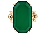 Pre-Owned Green onyx 18k yellow gold over sterling silver ring