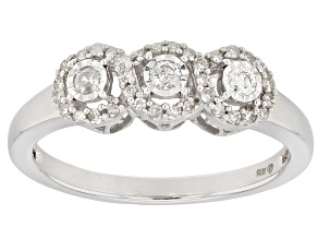 Pre-Owned White Diamond Rhodium Over Sterling Silver Ring 0.23ctw