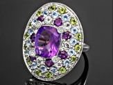 Pre-Owned Amethyst, Glacier Topaz, Peridot And White Topaz Sterling Silver Ring 7.87ctw