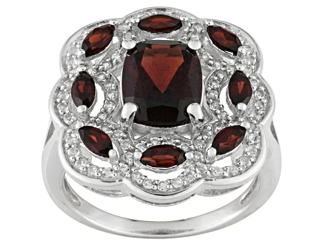 Pre-Owned Red Garnet And White Topaz Sterling Silver Ring 3.16ctw