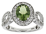 Pre-Owned Green Apatite Sterling Silver Ring 2.08ctw