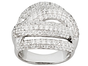 Pre-Owned 7.7ctw Cubic Zirconia Silver Crossover Ring