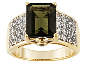 Pre-Owned Green Moldavite And White Topaz 18k Yellow Gold Over Silver Ring 2.76ctw