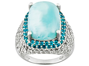 Pre-Owned Blue Larimar Sterling Silver Ring 3.04ctw.
