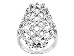 Pre-Owned Cubic Zirconia Sterling Silver Ring 1.86ctw
