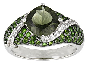 Pre-Owned Green Moldavite, Chrome Diopside And White Zircon Sterling Silver Ring 2.85ctw