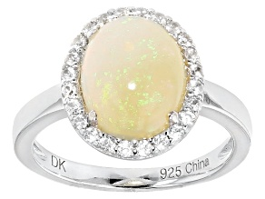 Pre-Owned Multi Color Ethiopian Opal And White Zircon Sterling Silver Ring 1.82ctw