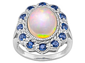 Pre-Owned Ethiopian Opal Sterling Silver Ring 3.77ctw.