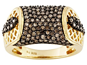 Pre-Owned Champagne Diamond 14k Yellow Gold Over Silver Ring .85ctw