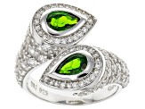 Pre-Owned Green Chrome Diopside And White Zircon Sterling Silver Ring. 2.71ctw