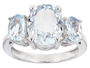 Pre-Owned Blue aquamarine rhodium over sterling silver 3-stone ring 3.83ctw