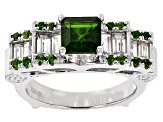 Pre-Owned Green Chrome Diopside And White Zircon Sterling Silver Ring. 2.03ctw