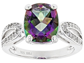 Pre-Owned Green Mystic Fire® Topaz Sterling Silver Ring 4.15ctw