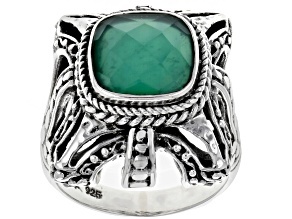 Pre-Owned Green Onyx Doublet Silver Solitaire Ring