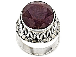 Pre-Owned Red Indian Ruby Silver Solitaire Ring 16.52ct
