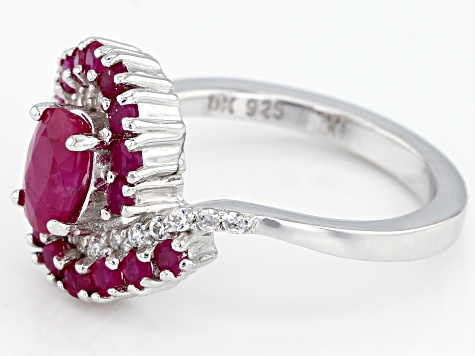 Pre-Owned Red ruby rhodium over silver ring 1.72ctw