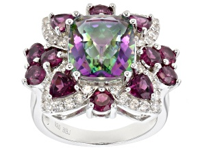 Pre-Owned Multi-color quartz rhodium over silver ring 6.54ctw