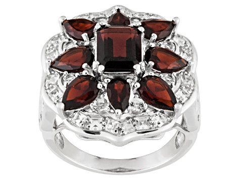 Pre-Owned Red Garnet And White Topaz Sterling Silver Ring 5.35ctw