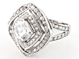 Pre-Owned White Goshenite And White Zircon Sterling Silver Ring 3.13ctw