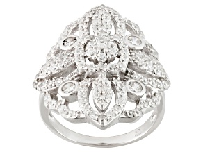 Pre-Owned White Cubic Zirconia Rhodium Over Sterling Silver Ring 2.80ctw.