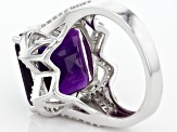 Pre-Owned Purple Amethyst Sterling Silver Ring 8.80ctw