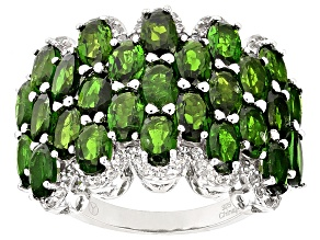 Pre-Owned Green Chrome Diopside Sterling Silver Ring 6.97ctw