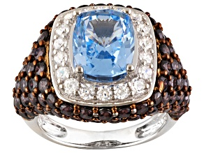 Pre-Owned Synthetic Blue Spinel And Brown And White Cubic Zirconia Silver Ring 10.44ctw