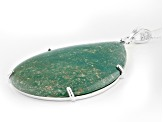 Pre-Owned Turquoise Green Kingman Sterling Silver Pendant With Chain