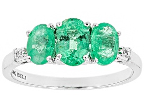Pre-Owned Green Ethiopian Emerald Rhodium Over 10k White Gold Ring 1.40ctw
