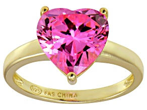 Pre-Owned Bella Luce®5.38ct Pink Diamond Simulant 18k Yellow Gold Over Silver Ring