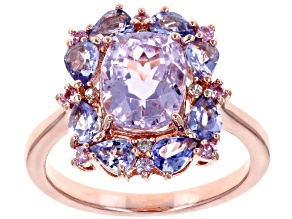 Pre-Owned Pink Kunzite 18k Rose Gold Over Silver Ring 3.48ctw