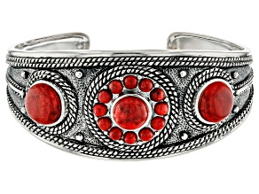 Pre-Owned Round Cabochon Coral Sterling Silver Cuff Bracelet