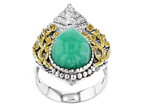 Pre-Owned Green Chrysoprase Two-Tone Sterling Silver Ring
