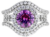 Pre-Owned Swarovski ® Fancy Purple & White Zirconia Rhodium Over Sterling Silver Ring 6.03ctw