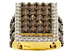 Pre-Owned Brown And White Cubic Zirconia 18k Yellow Gold Over Silver Ring 7.45ctw
