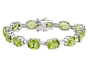 Pre-Owned Green Peridot Sterling Silver Bracelet 38.00ctw